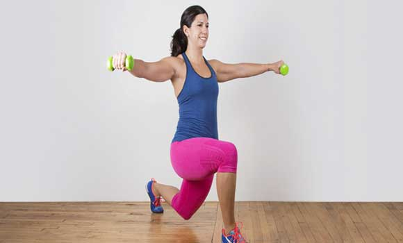 Lunge with an air kick